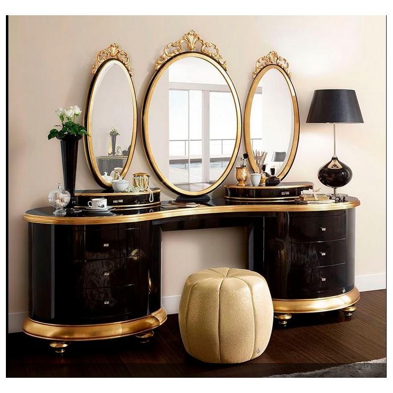 Coiffeuse de luxe 5 tiroirs et 3 miroirs Milan