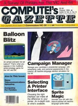 Compute Gazette - Issue 14 - August 1984 - Ballon Blitz - Campaign Manager - Commodore VIC-20 64