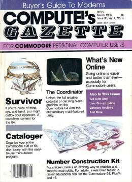 Compute Gazette - Issue 33 - March 1986 -Survivor - OnLine - VIC-20 64 128 Amiga