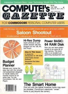 Compute Gazette - Issue 37 - July 1986 - Saloon - Budget Panner - 64 RAM Disk - Commodore VIC-20 64 128 Amiga