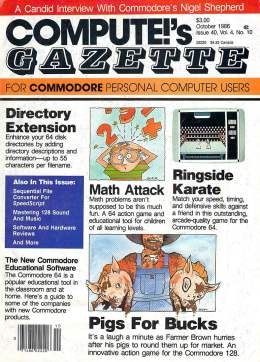 Compute Gazette - Issue 40 - October 1986 - Directory Extension - Math Attack - Commodore VIC-20 64 128 Amiga