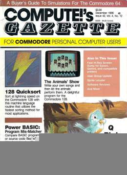 Compute Gazette - Issue 42 - December 1986 - 128 Quicksoft - Animals - Commodore VIC-20 64 128 Amiga