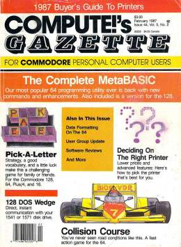 Compute Gazette - Issue 44 - February 1987 - Complete MetaBASIC - 128 DOS Wedge - Commodore VIC-20 64 128 Amiga