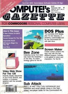 Compute Gazette - Issue 52 - September 1987 - DOS Plus - Sub Attack - Video Slide Show for the 128 - Commodore VIC-20 64 128 Amiga