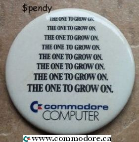 COMMODORE THE ONE TO GROW ON button