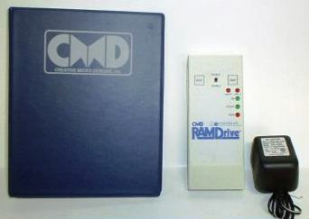 CMD 512K RAMDRIVE: Portable 512 K RAM Disk for the C64/C128 line of computers. Software drive swap between drive 8 and 9, defaults to 16. Compatible with GEOS, BASIC, and most 64 or 128 software. Built in JiffyDos and RD DOS. It loads off of diskette, and from then on retains JD kernal until batteries are drained, 9volt wall wart included. Emulates 1541 drive, or Native partitions.