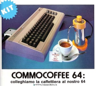 """COMMOCOFFEE 64: The Commocoffee-64 is an Espresso maker that is controlled by your Commodore 64. From 1985 Italian Magazine Microcomputer, the text translates to """"We Connect The Coffee Machine to Your 64"""" The software ask prompts: """"Che ore sono?"""" """"What time is it? """"Sveglia alle?"""" """"Wake up at?"""" and then concludes with a polite: """"Buonanotte ..."""" """"Goodnight ..."""" It turns on the machine whenever you told it to and made a decent cup of expresso."""