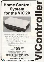 VICONTROLLER: This controller plugged into the Commodore VIC 20 user port to control upto 256 lights and other electric devices in your house. COMPUTE! June 1983