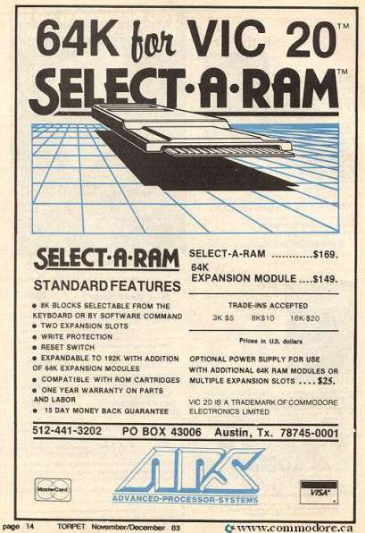 VIC-20 64K SELECT-A-RAM - Memory Expansion I have never seen one of these or even the 32K expansion made by Commodore. TORPET Nov 1983