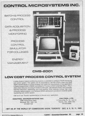 CONTROL MICROSYSTEMS SELLING SUPERPET CMS-2001 - Low Cost Process Control System - TORPET Nov 1983