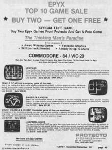 PROTECTO SELLING EPYX GAMES FOR VIC-20 & C64 - JumpMan, Temple of Apshai, Sword of Fargoal, Crush Crumble Chomp, Jumpan Junior TORPET Nov 1983