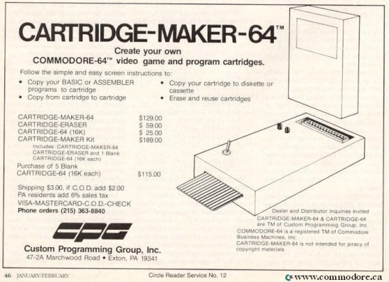 CUSTOM PROGRAMMING GROUP INC (CPG) CARTRIDGE MAKER 64 - Commodore Microcomputers Feb 1985