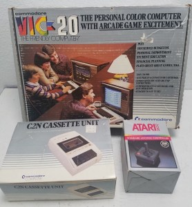 commodore-VIC20-retail-box-c2n-cassette-with-price-tag-atari-2600-joystick