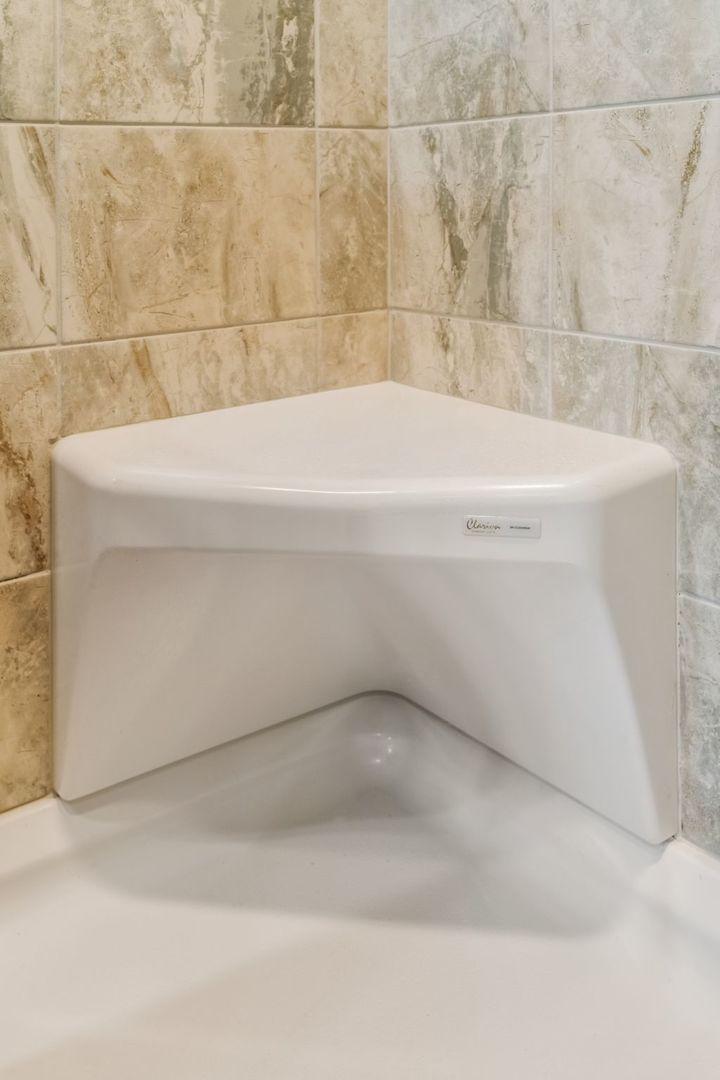 ceramic tile shower corner seat