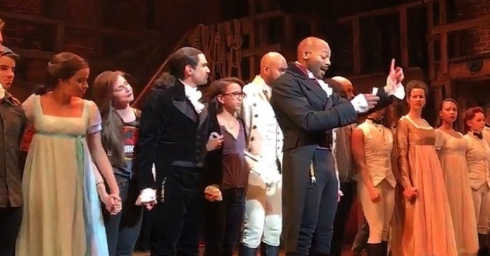 """We are the diverse America who are alarmed and anxious that your new administration will not protect us, our planet, our children, our parents, or defend us and uphold our inalienable rights,"" said actor Brandon Dixon. (Screenshot: Hamilton via Twitter)"