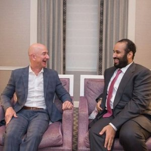 """Here's Jeff Bezos, owner of the Washington Post, yukking it up back in March with Saudi Crown Prince Mohammed bin Salman, whose government appears to have just murdered a Washington Post columnist,"" wrote Jon Schwarz in a tweet."