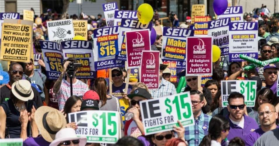 """After decades of stagnant wages, most low-income workers are now struggling to get by on poverty wages,"" the report—titled Reversing Inequality: Unleashing the Transformative Potential of an Equitable Economy—notes. (Photo: SEIU Local 99/flickr/cc)"