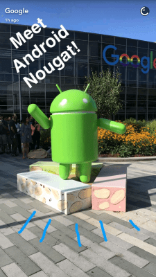 Android Nougat on Snapchat