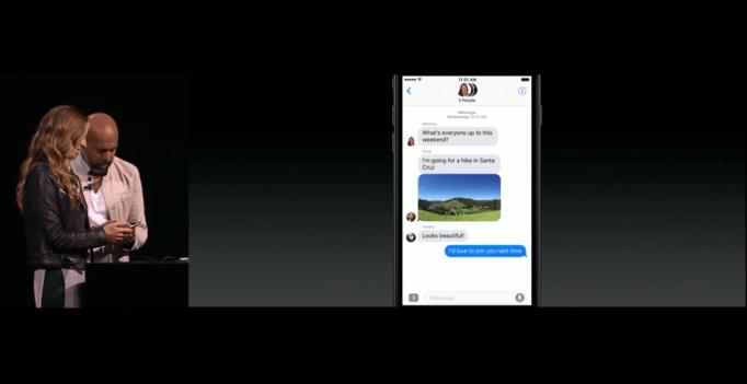 Image via Apple Keynote Messages demo at WWC in June 2016