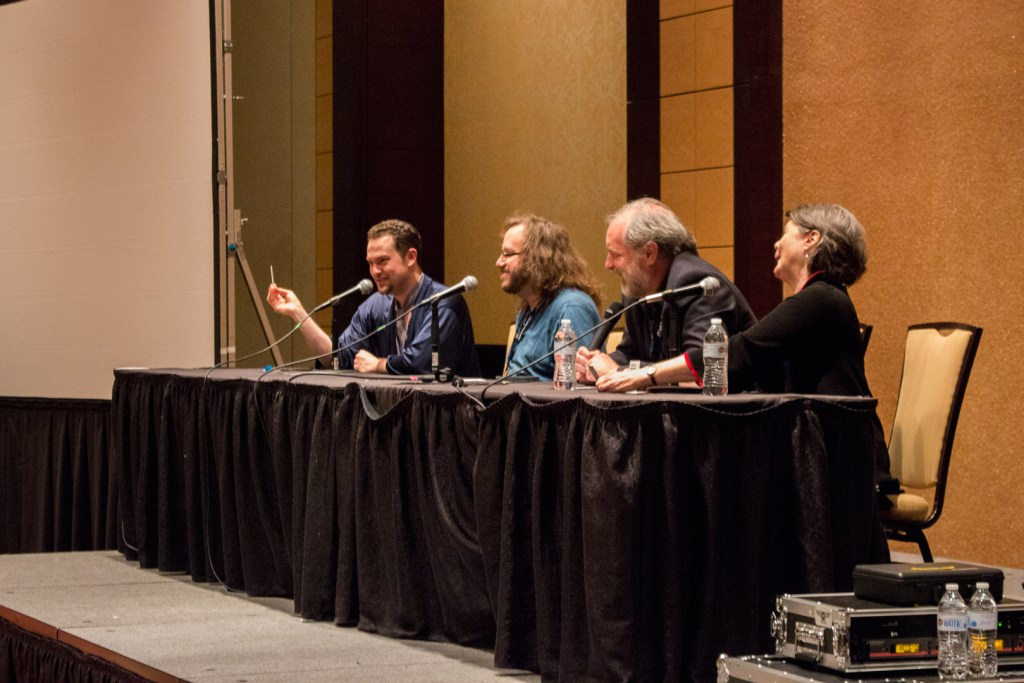 Uncle Yo playing Cards Against Humanity with Keith DeCandido, John Patrick Lowrie, and Ellen McLain. - Zenkaikon 2017 - Photo by Adam Houck
