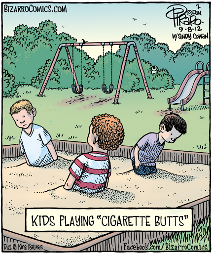 Kids Playing Cigarette Butts