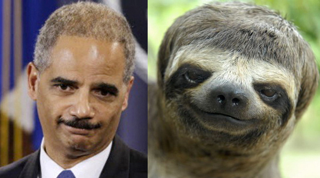 Eric Holder And A Sloth