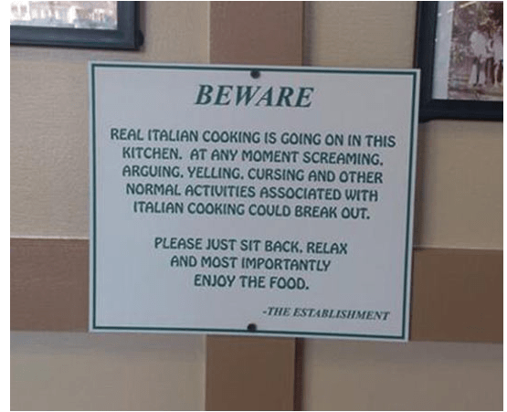 Sign Of The Day Real Italian Cooking