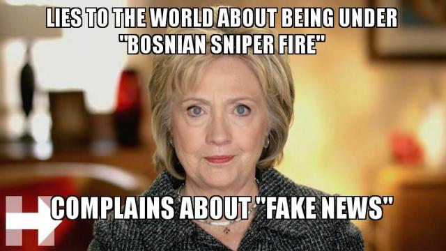 "Hillary Fake News - Lies to the world about ""Bosnian Sniper Fire"". Complains about ""Fake News"".  © Gags at Common Sense Evaluation 2016"