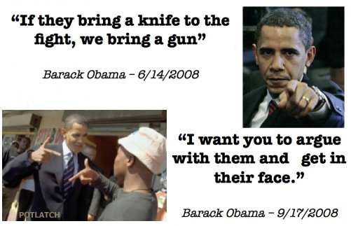 If they bring a knife to the fight, we bring a gun. argue with [people], get in their faces.