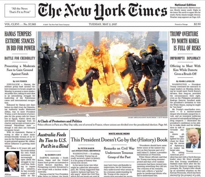 Media Propaganda Of The Day: Today's New York Times Front Page