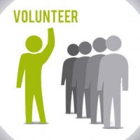 Volunteer design over white background, vector illustration.