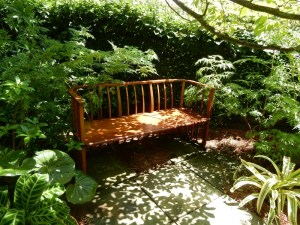 Shady seating at Chanticleer