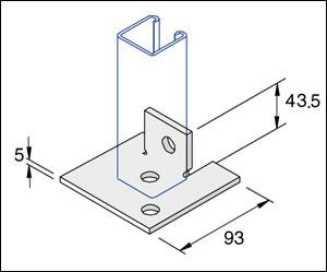 Unistrut P2072A Unistrut Double Fix 2-Hole Channel Base