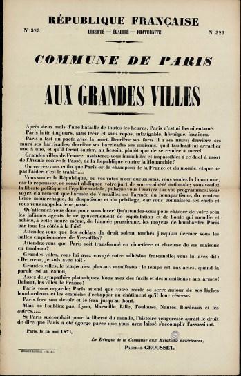 Affiche de la Commune N° 323 du 15 mai 1871 - Appel aux grandes villes