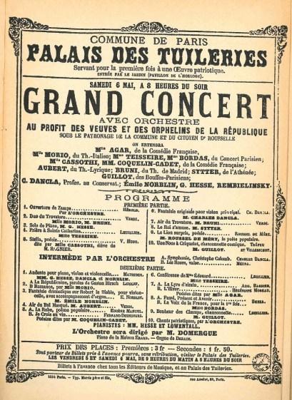 Affiche du concert du 6 mai (reproduite page 520) - La Commune de Paris 1871ouvrage coordonné par Michel Cordillot, chapitre La Commune et les arts par Jean-Louis Robert (P 517-521)