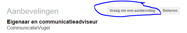 Linkedin aanbeveling vragen