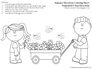 Summer Directions Coloring Sheet-Sequential 2 step