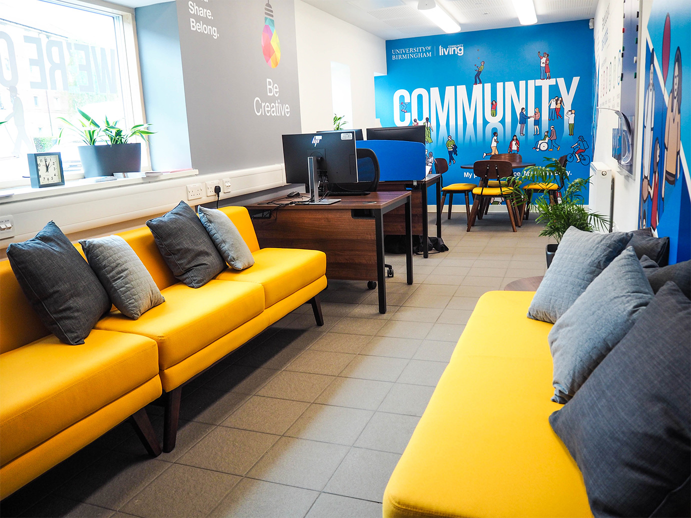 Community Living Hub from the entrance, looking towards the hotdesks