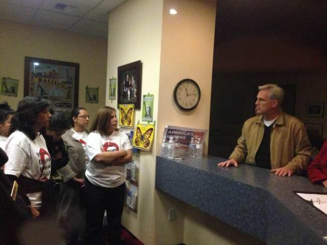 CHIRLA members, including Executive Director Angelica Salas, talk with Rep. McCarthy.