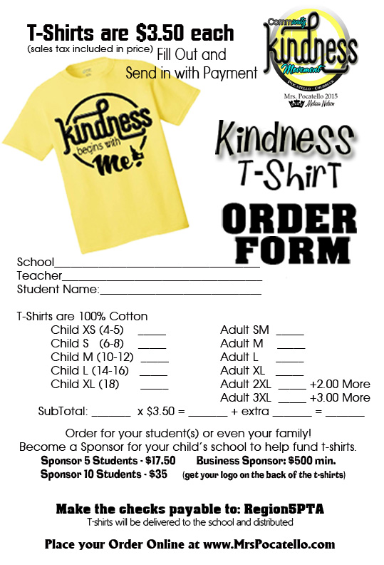 Community Kindness Movement  Kindness TShirt Order Forms