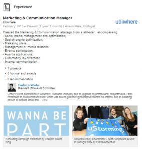Otimizar o perfil do LinkedIn | Helena Dias | Adicionar experiência profissional ao LinkedIn