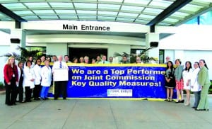 Staff members at Coral Gables Hospital celebrate the recognition by the Joint Commission