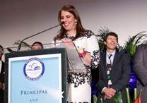 Nicole Berge-MacInnes, Coral Reef Senior High School, accepts the Assistant Principal of the Year Award.