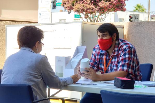 Carlos training a Sourcewise senior at Yu-Ai-Kai