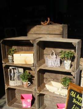 A display made from old apple boxes
