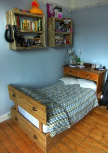 Reclaimed wood bed and shelving