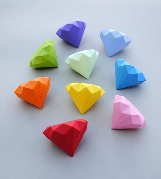 Diamantes de origami passo a passo