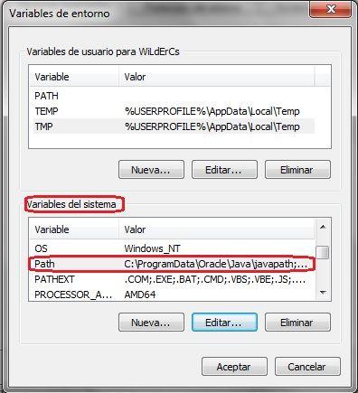 configurar variables de entorno java