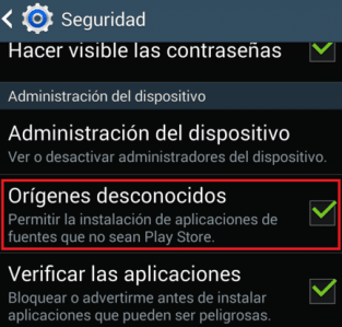 permitir fuentes desconocidas android