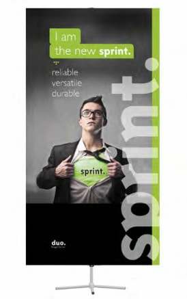 The sprint. is a premium banner stand with a telescopic pole and adjustable height
